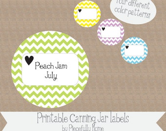 Printable and Editable Chevron Canning Jar Labels, 2 inch, made with love