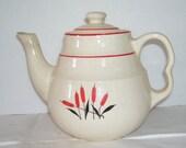 Universal Cambridge Cattail 4 Cup Teapot, Pottery Tea Pot, Cattail Image, Shabby Cottage, Farm House Decor, Promotional Pattern, Server
