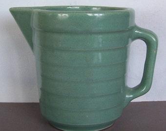 Vintage Aqua Striped Pottery Pitcher Marked U.S.A. Milk Pitcher, Stoneware Pitcher, Cream Pitcher, Kitchen Server, Rustic Kitchen, Country