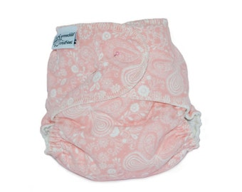 Cloth Diaper Fitted, One Size, Butterflies, Flannel - Add Snaps, Hook and Loop, or Pins