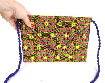 Vintage Indian Embroidered Purse Hippie Boho Cross Body Bag Shisha Mirrors Neon Rainbow Festival Purse Multi Color Tapestry Shoulder Bag