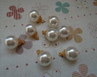 20pcs 20x15x15mm white/beige artificial plastic pearl earring charm/pendant