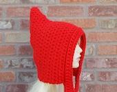 Red Pixie Hood, Hand Crochet Items, Red Hood, Winter Hat, Knit Hood, Crochet Hood, Pixie Hat, Photo Prop, Cute Hood, Chunky Hood