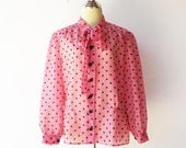 Vintage Sheer Blouse / Pink and Black / Size L XL