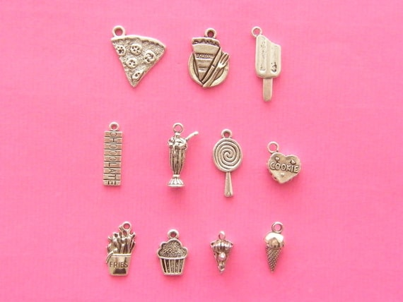 The Yummy Charms Collection - 11 different antique silver tone charms