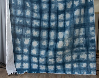 homemade Indigo Checker Quilt fullcloth cotton indigo dye bedspread - QUEEN Size Blue and White