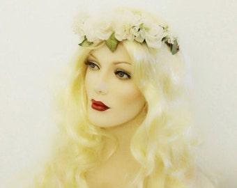 """White Rose, bridal crown, millinery, vintage, tiara  """"Halo"""""""