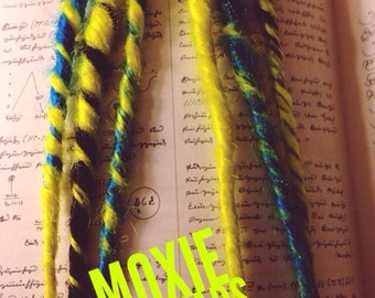 Blue, Black and Neon Yellow Dread Extension Chignons (Ready To Ship) - Tribal Rave Wasteland Burning Man Dreadlocks
