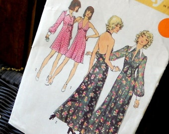 Vintage Dress Pattern Maxi Knee Length Simplicity