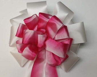 Wedding Pew Bows Pink Ombre Wired Ribbon over White Acetate Satin Hand Tied