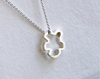 Silver Chibi Pendant, Silver Chibi Necklace, Silver Buddha Jewelry, Buddhist Jewelry, Meditation Jewelry, Spiritual Necklace