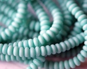3mm Opaque Turquoise Matte Rondelle - Small Rondelle - Donut Beads - Czech Glass Beads - Turquoise Donut - Bead Soup Beads