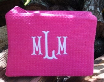 Personalized, monogrammed cosmetic bag