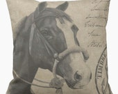 Pillow Cover Vintage Equestrian Horse and Bridle