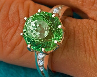 Green & White Sapphire Unique Engagement Ring, Gemstone Engagement Ring, Statement RIng, September bithstone, Color Engagement RIng