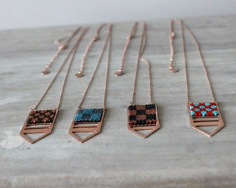 Rose Gold Geometric Pendant Necklace with Japanese Seed Beads – 4 Styles Available