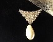 Silver Rhinestone Brooch teardrop Pearl Vintage Art Deco Jewelry