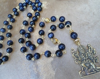 Kali Necklace  Kali Ma  Sparkly Blue Goldstone  Mala Necklace Mala Beads Hindu Goddess  Goddess Necklace Goddess Prayer Beads Free Shipping