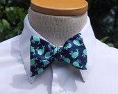 Whale Bow Tie - Men's Bowtie - Freestyle Butterfly or Diamond Point Bowtie - Adjustable - Nautical - Navy and Mint