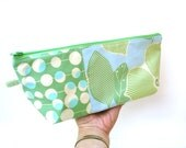 Cosmetic case, makeup bag, aqua green blue, large zipper pouch, travel toiletry bag, craft storage bag, gift for her