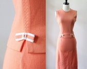Vintage 1960s Dress 60s Dress Sleeveless Dress Womens Summer Dress 60s Top and Skirt 1960s Outfit Orange Sherbet Size Small