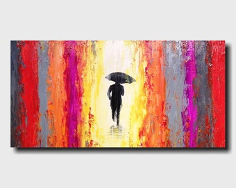 Large Abstract Sihouette painting - 18 X 36 Inches-by Artist JMJartstudio-Left behind -Wall art-wall decor - Oil painting-Purple gray