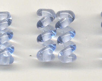 Tom's lampwork transparent pale blue ice twist cylinder beads, drops, spacers 20mm, 2 beads, 1 pair, 99044-1