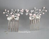 Bridal combs Set of 2 Wedding rhinestones pearls metal comb Ivory cream white pearls Bridesmaid accessories Beaded pearls crystals comb