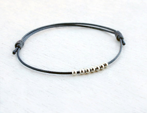 Sterling Silver Round Beads Bracelet / Round Beads Anklet (many colors)