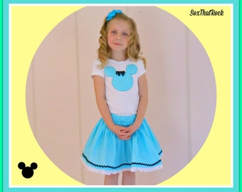 Minnie Mouse inspired girls twirly skirt & shirt set in blue swiss dot, perfect for Disney, Disney Cruise, Minnie Mouse Birthday party