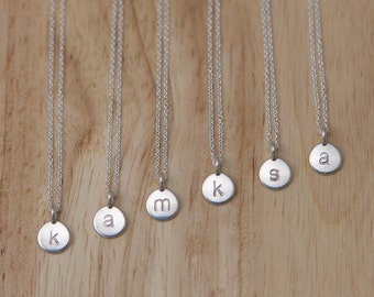 Bridesmaid Silver Initial Disc Monogram Necklaces - Set Of 6 Custom Personalized Sterling - Modern Wedding Jewelry Dainty Simple Minimalist