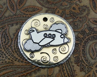 Custom-Airplane-Dog ID Tag-Handmade Dog Tag-Plane-Personalized Dog ID Tag-Dog Tag for Dogs