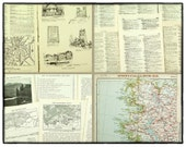 Vintage paper pack, 30 pages from vintage gazetters and texts with architecture images, old map pages, geography text, art and craft paper.