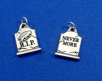 Tombstone Charm - Silver Tombstone Grave Charm for Necklace or Bracelet
