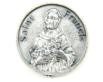 LARGE Saint Francis of Assisi Catholic Medal - Religious Charms - Patron Saint of Animals - Prayer Token - Pocket Medallion