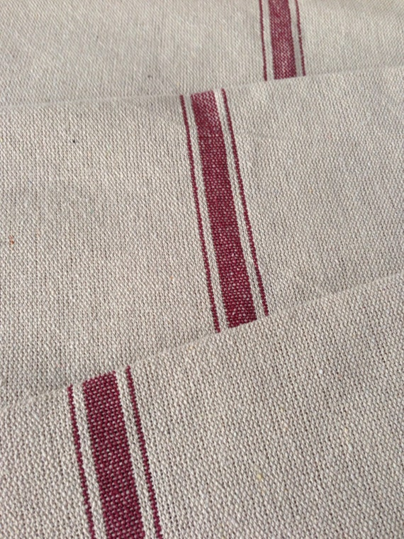 grain sack fabric red stripe vintage inspired sold by the yard feed sack fabric flour sack fabric gunny sack fabric grain sack from