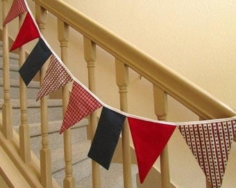 """Patriotic Double Sided Fabric Bunting, Party Banner, Pennant Flags, Fabric Garland, 3.5 ft Long, Fourth of July, USA """"Stars and Stripes"""""""