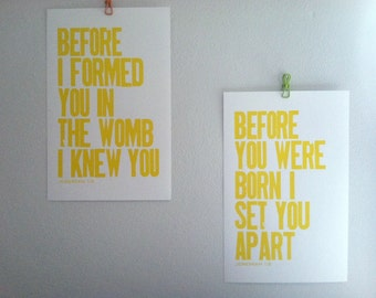 Yellow Modern Children and Nursery Decor , Religious Art Posters, Set of 2, Jeremiah 1:5, Letterpress Prints, 11x17