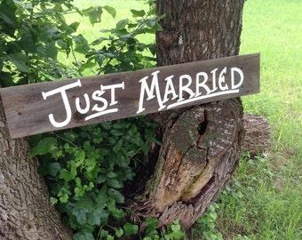 Just Married Rustic Western Bridal Wedding Sign Gray Barn Wood