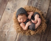 Newborn Baby Overall Pants and Baby Bonnet Set - Newborn Size- Pick your Colors - Photography Prop