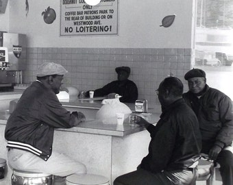 vintage 1980's photograph 11x14 black & white photo art artwork photographer african american old men doughnut diner retro decorative home
