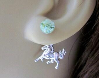 Pony Earrings Horse Earrings Reverse Earrings Front Back Earrings Green Speckled Stained Glass Jewelry Crushed Glass Ear Jackets Earrings