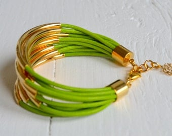 CLEARANCE  SALE  : Lime Green Leather Cuff Bracelet with Gold Tube Beads - Multi Strand Bangle Women's Bracelet DISCONTINUED