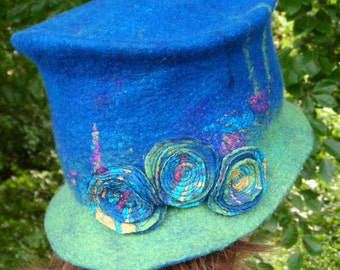 Felted Hat ~~SALE ~~ Blue and Green - Shabby Chic