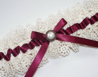 Burgundy Wedding Garter  - The ALLIE Garter