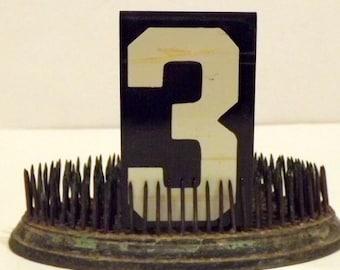 Metal Number 3 Unitype Hanging Sign Black White