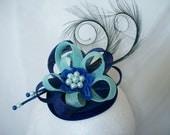 Royal Blue & Aqua Pheasant Curl Feather Sinamay Loop and Pearl Fascinator Mini Hat - 'Custom Made To Order