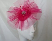 Hot Fuchsia Cerise Pink Tulle Veil Sinamay Loop & Rhinestone Ascot Wedding Percher Fascinator Mini Hat - Custom Made to Order