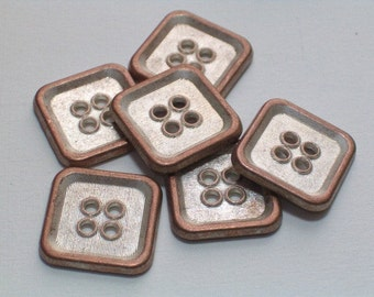 Copper Color Metal Buttons Square 15mm Set 6 Sewing Embellishment Jewelry Buttons