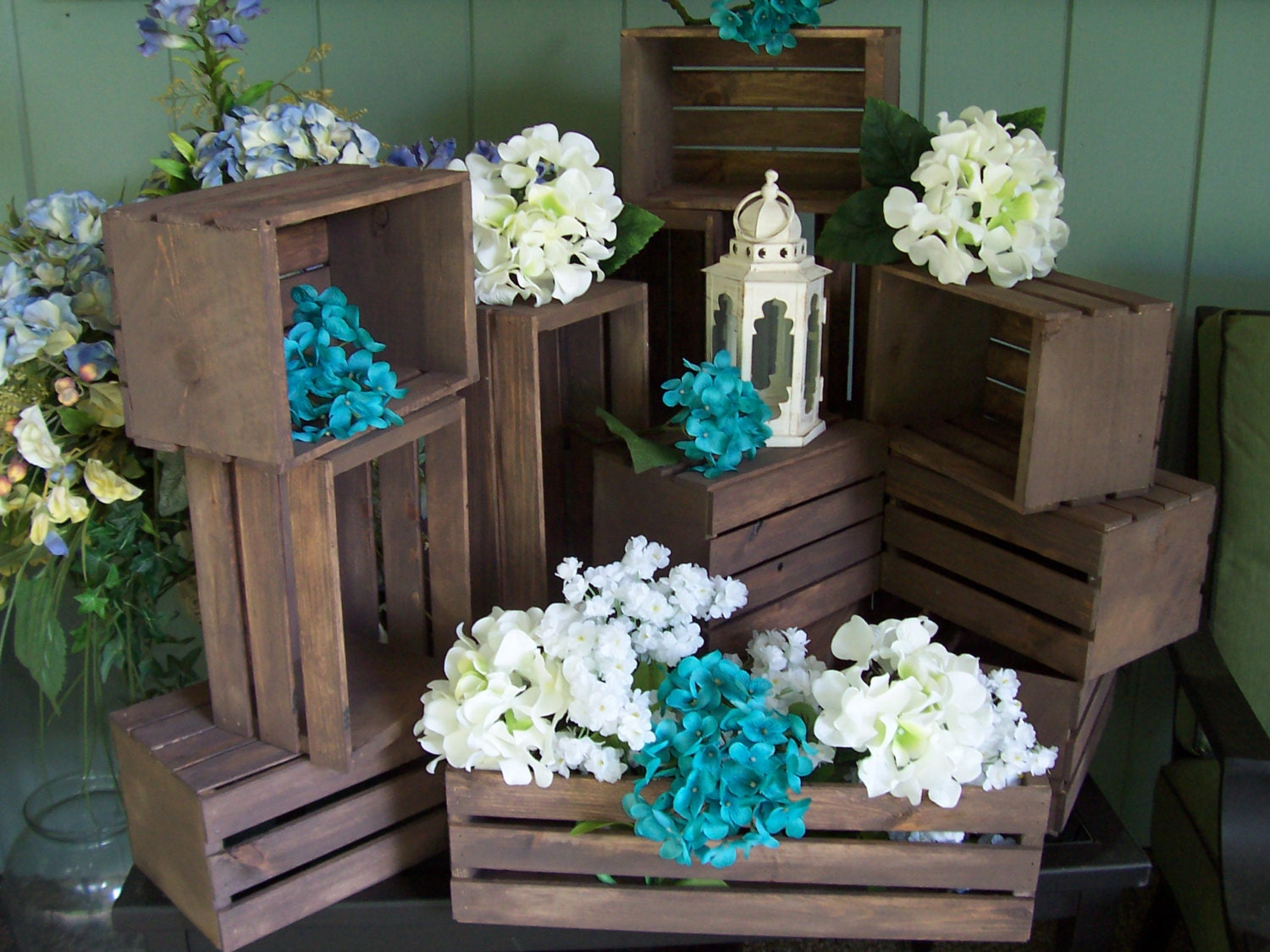 Wedding centerpiece wood crates in rustic by primitivearts